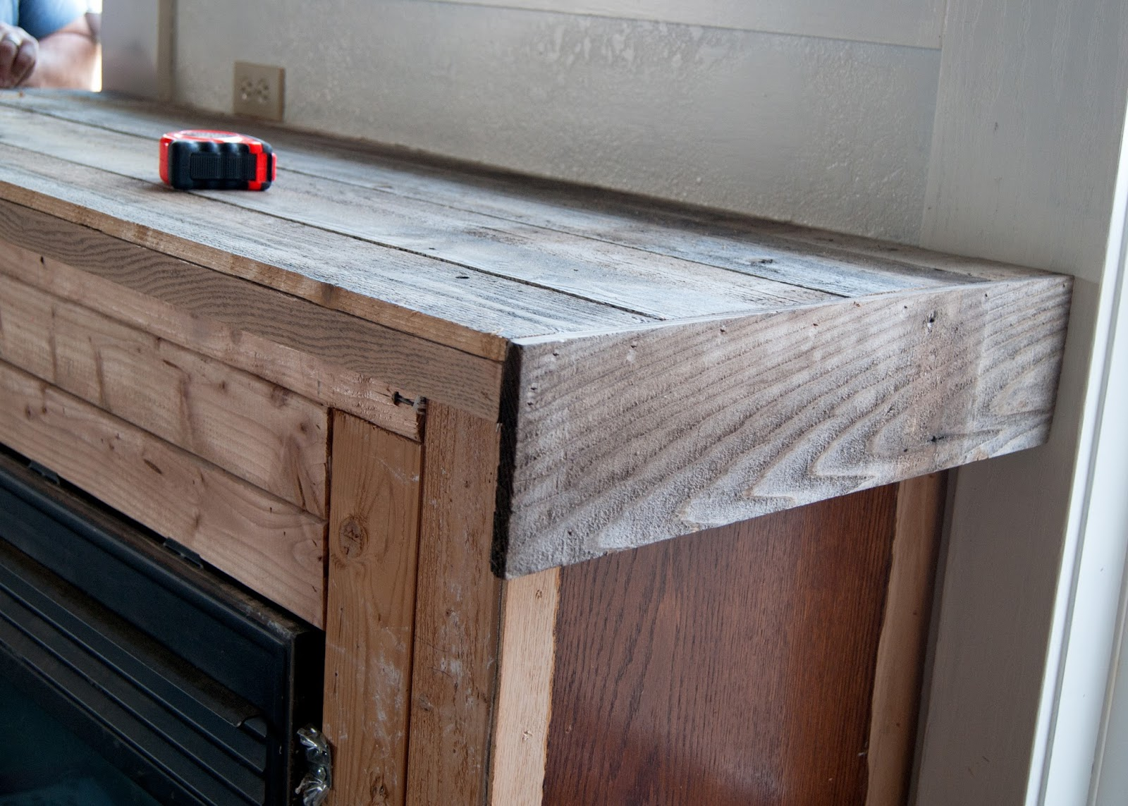 Installing - Fireplace Makeover - Reclaimed Wood Mantel