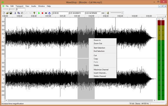 Edita audio gratis con WaveShop