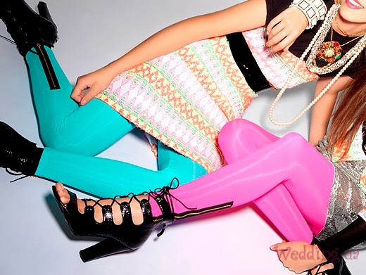 Attractive Pink and Blue Amazing Zipper Tights with Black High- Heeled Modern Shoes and Accessories