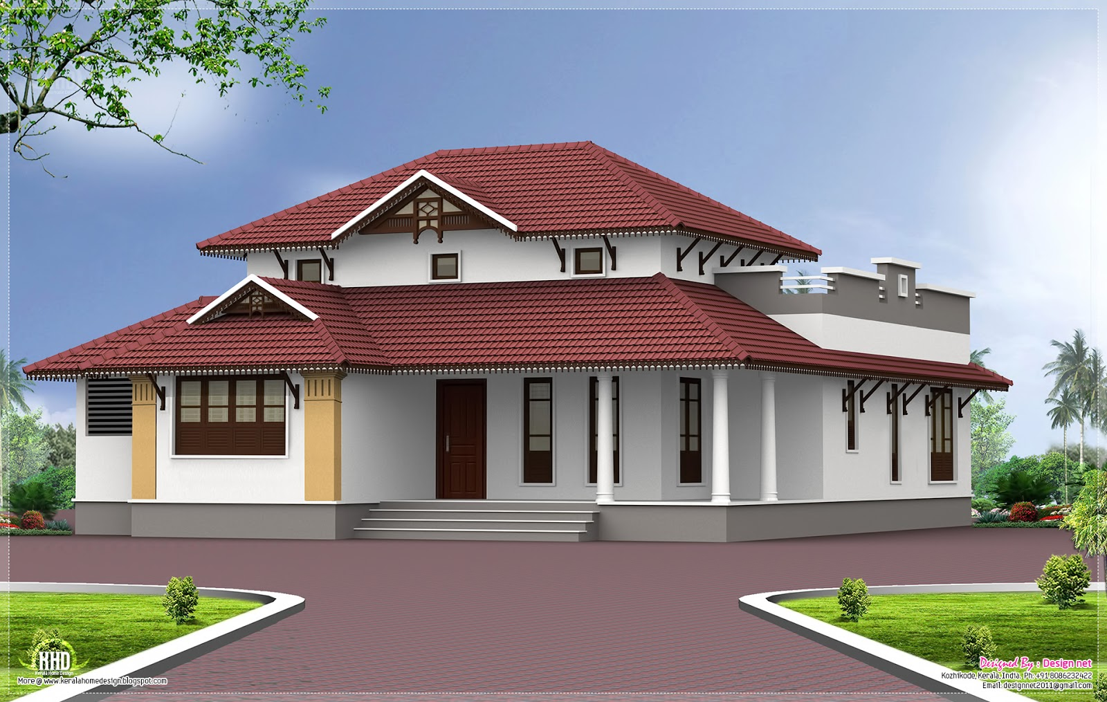 Single storey home exterior in 1650 kerala home for Single storey house plan