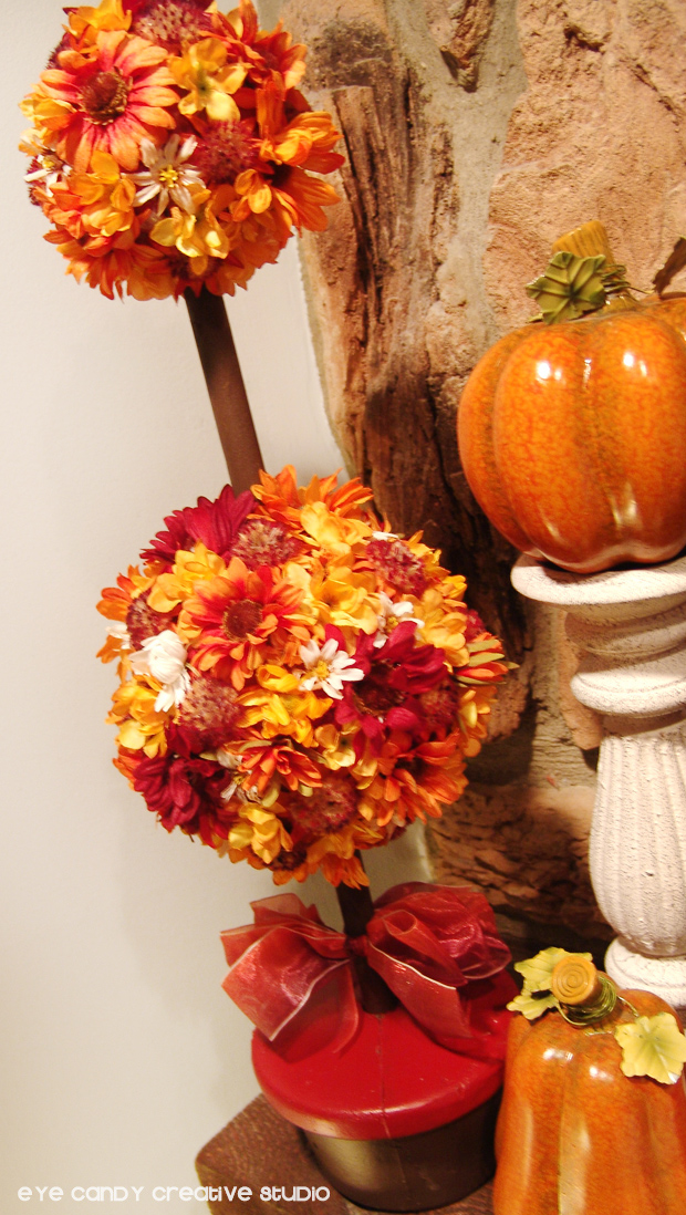 decorating the mantle for fall, fall topiary, mantle decor, pumpkins