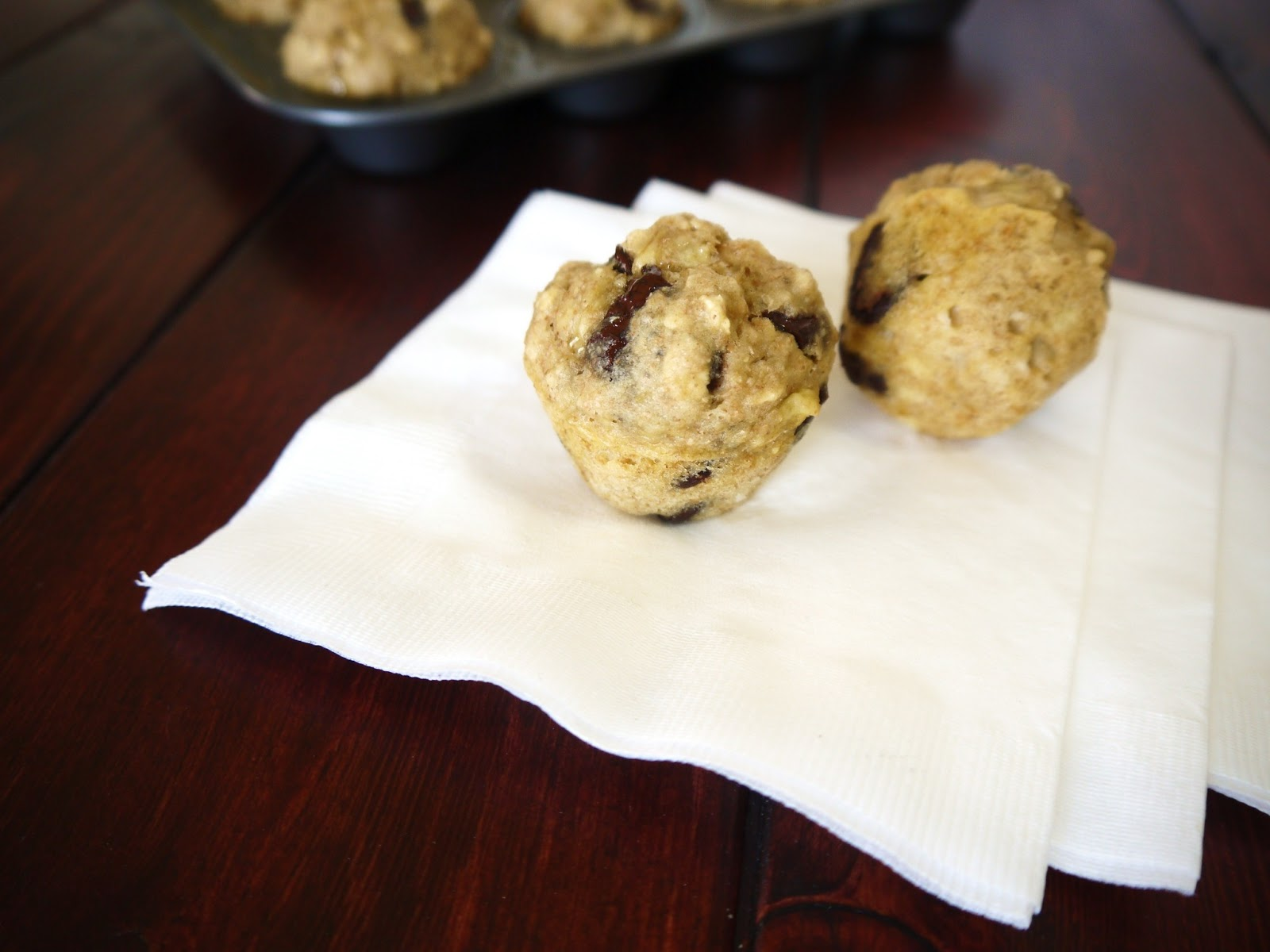 Banana Chocolate Chip Oatmeal Muffins Makes  Dozen