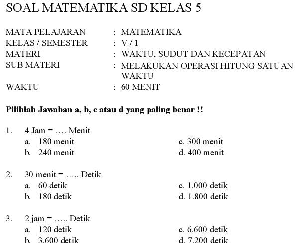 Download Contoh Soal Matematika Kelas 5 SD\/MI Semester 1  Kumpulan Pelajaran