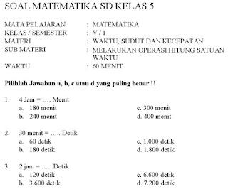 Contoh Soal Matematika Kelas 5 Semester 1