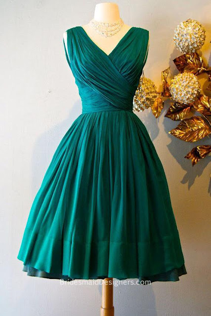 Retro Green Bridesmaid Dresses