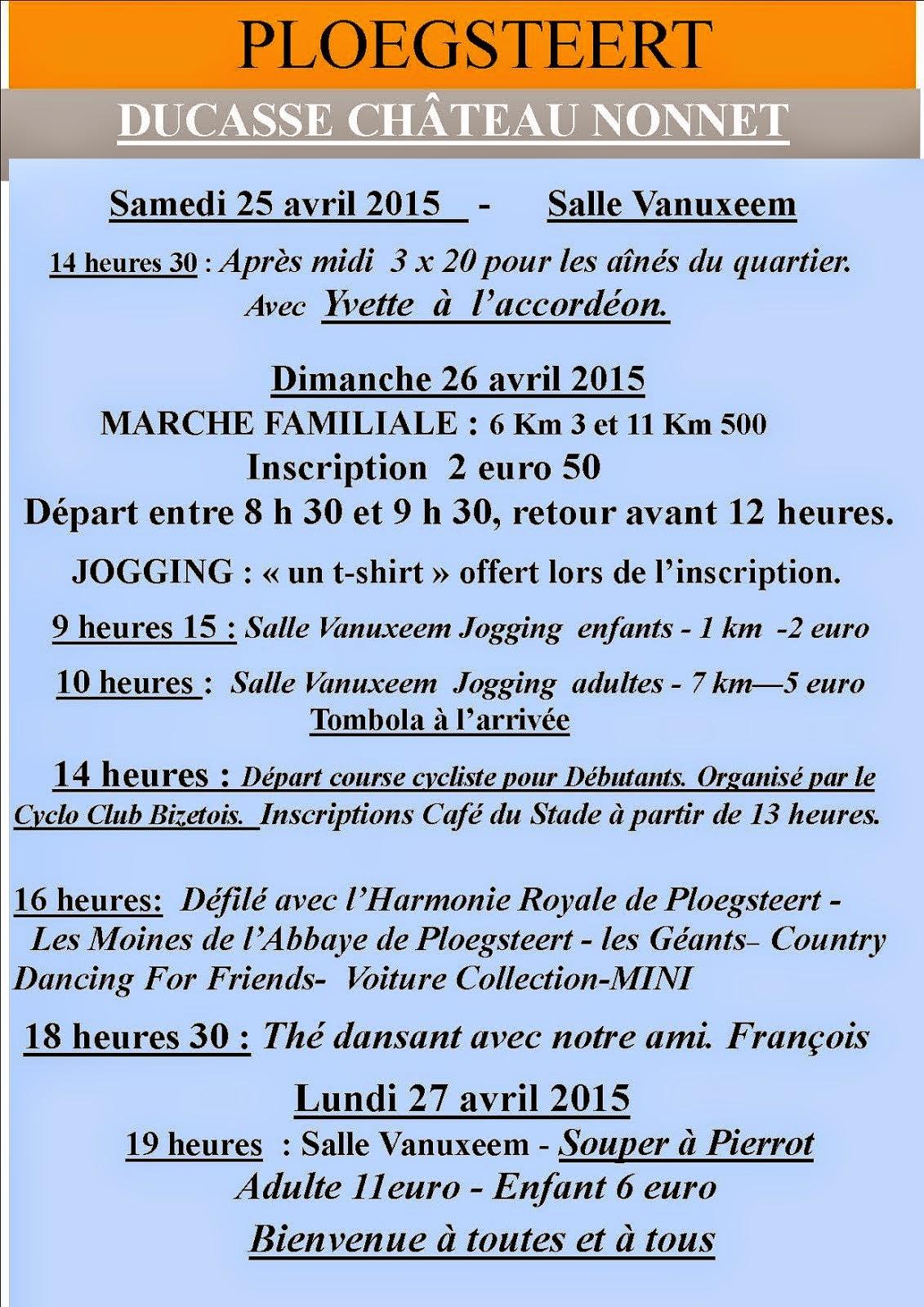 25-26-27 avril ducasse du Château-Nonnet