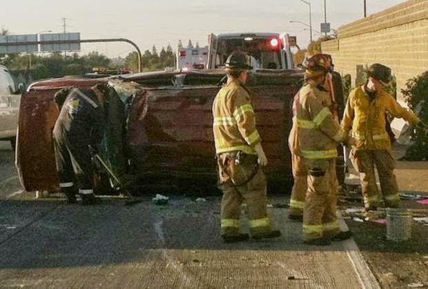 fresno suv overturned crash highway 41 ford explorer 99 jensen avenue