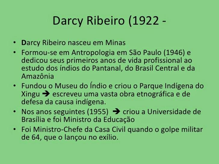 Sarau Para Todos Darcy Ribeiro 1922 1997 O Brasil E Os índios