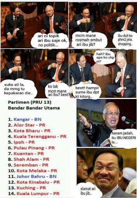 Sempena sambutan Hari Ibu. Najib dan Anwar minum semeja