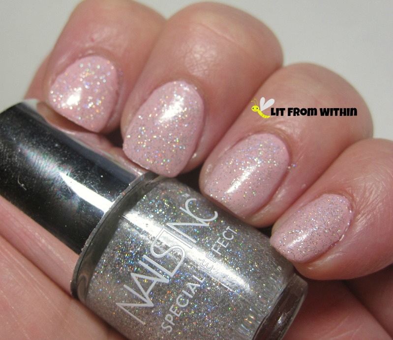 Nails Inc Electric Lane, a scattered holo glitter topper
