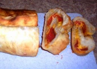 Pepperoni Bread on the cutting board