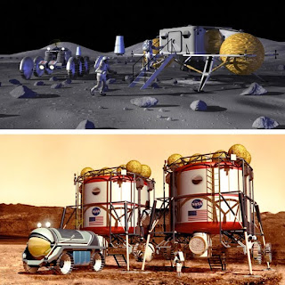 moon and mars base