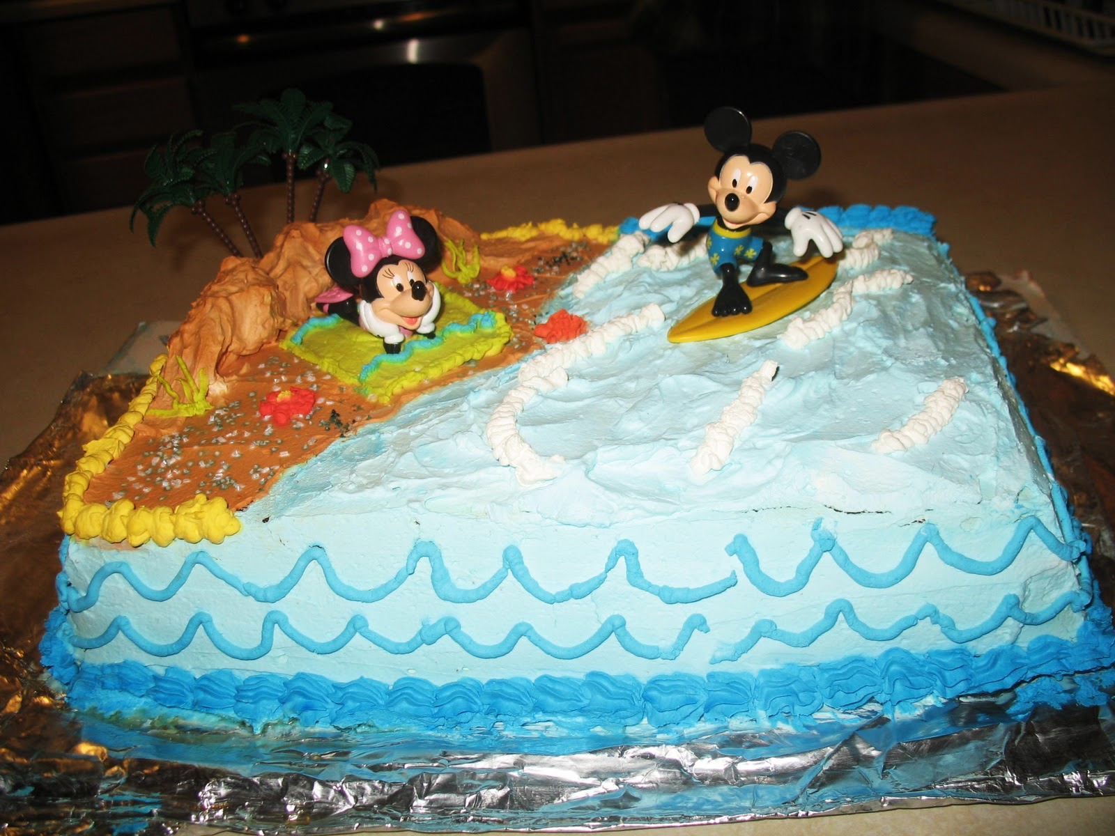 Forever a Piece of Cake Mickey Minnie Mouse beach birthday cake