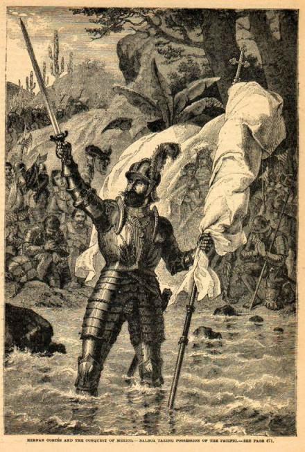 Ilustración de Vasco Nuñez de Balboa reclamando posesión del Mar del Sur
