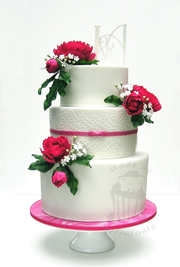 Hochzeit Torte Fondant Blütenpaste peony gumpaste Zuckerblüten Pfingstrosen