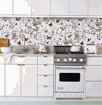 Kitchen decorating ideas vinyl wallpaper for the kitchen for Modern kitchen wallpaper ideas