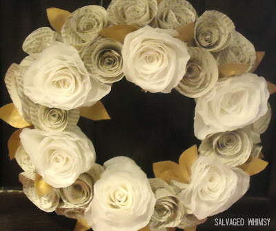 Salvaged whimsy tutorial rolled paper flower wreath if you like how this turned out you might want to check out my pleated wreath too mightylinksfo