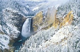 Snowy Lower Falls of the Yellowstone River