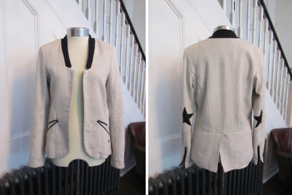Maison Scotch Cream Linen/Cotton Jacket with Black Collar & Zipped Cuffs