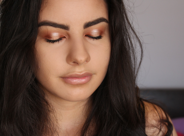 make up geek makeup foiled eyeshadow flamethrower in the spot light makeup look warm bronze brunette