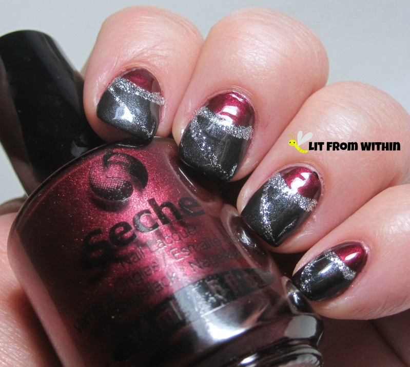 half-moon nail art with Seche Smokey and silver glitter over Bella