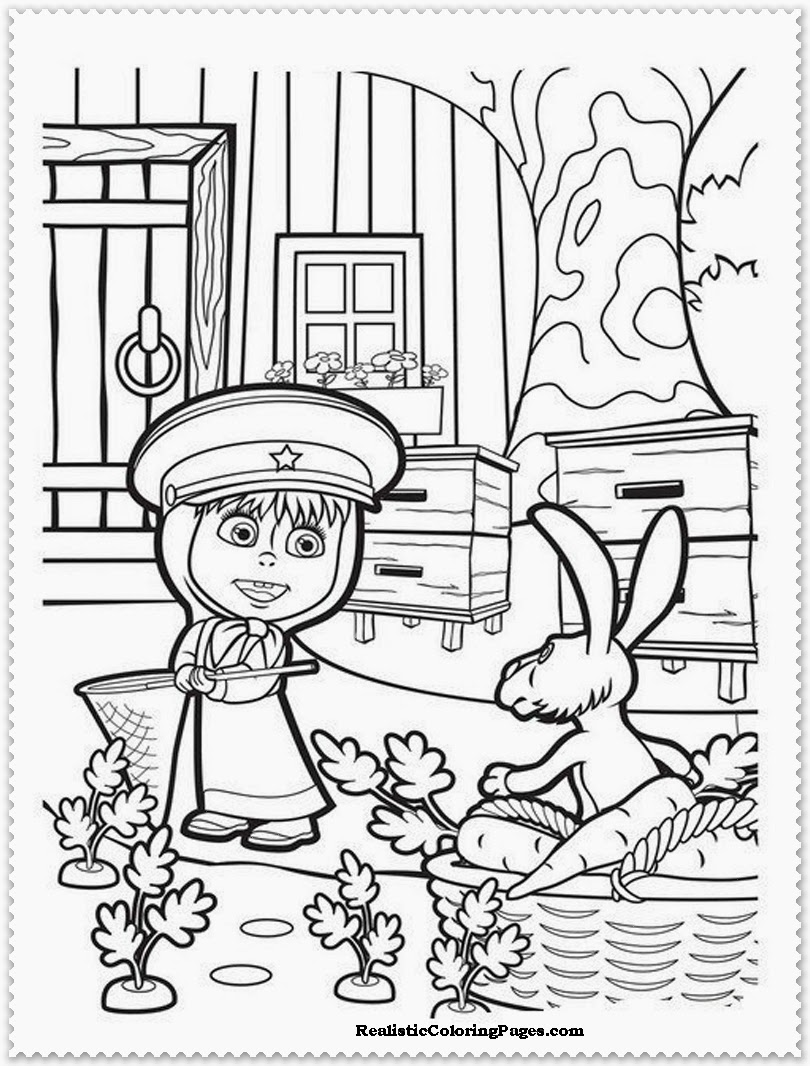 masha and the bear coloring sheet printable