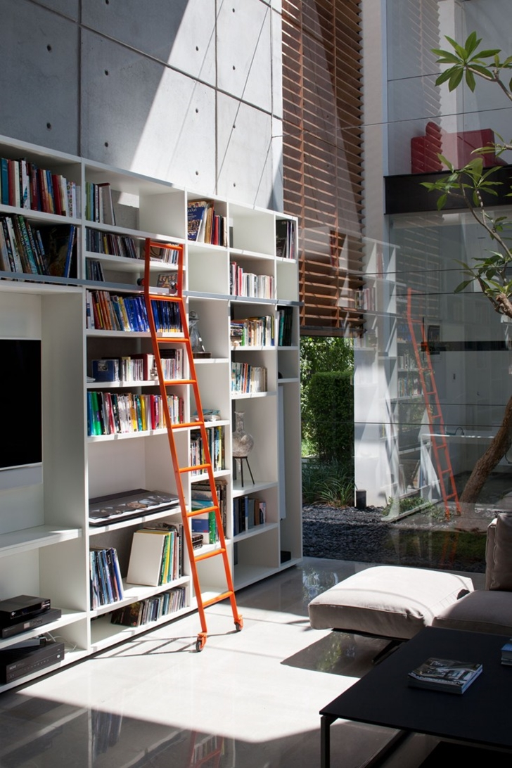 Book shelf wall in Modern Bauhaus Mansion In Israel