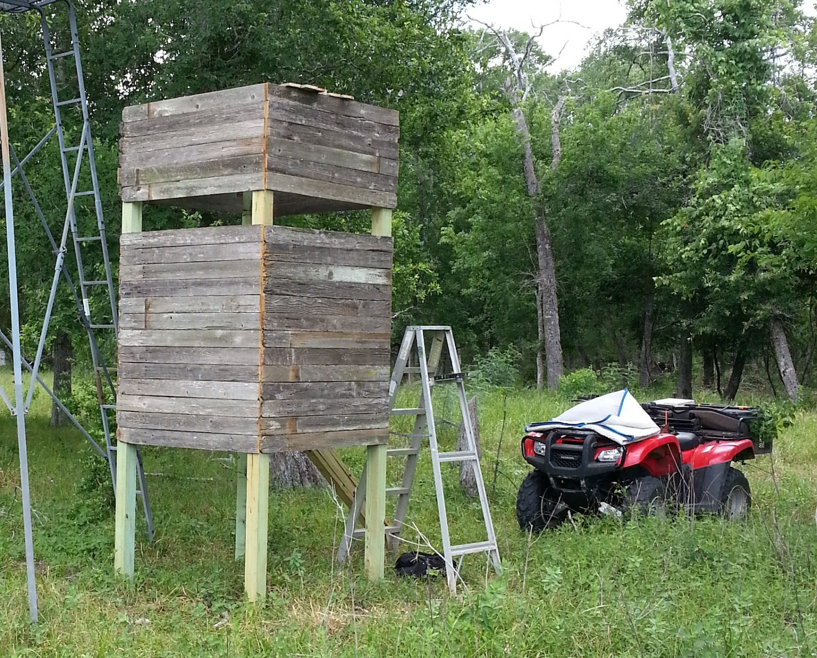 A man in the woods july 2013 for Deer stand made from pallets