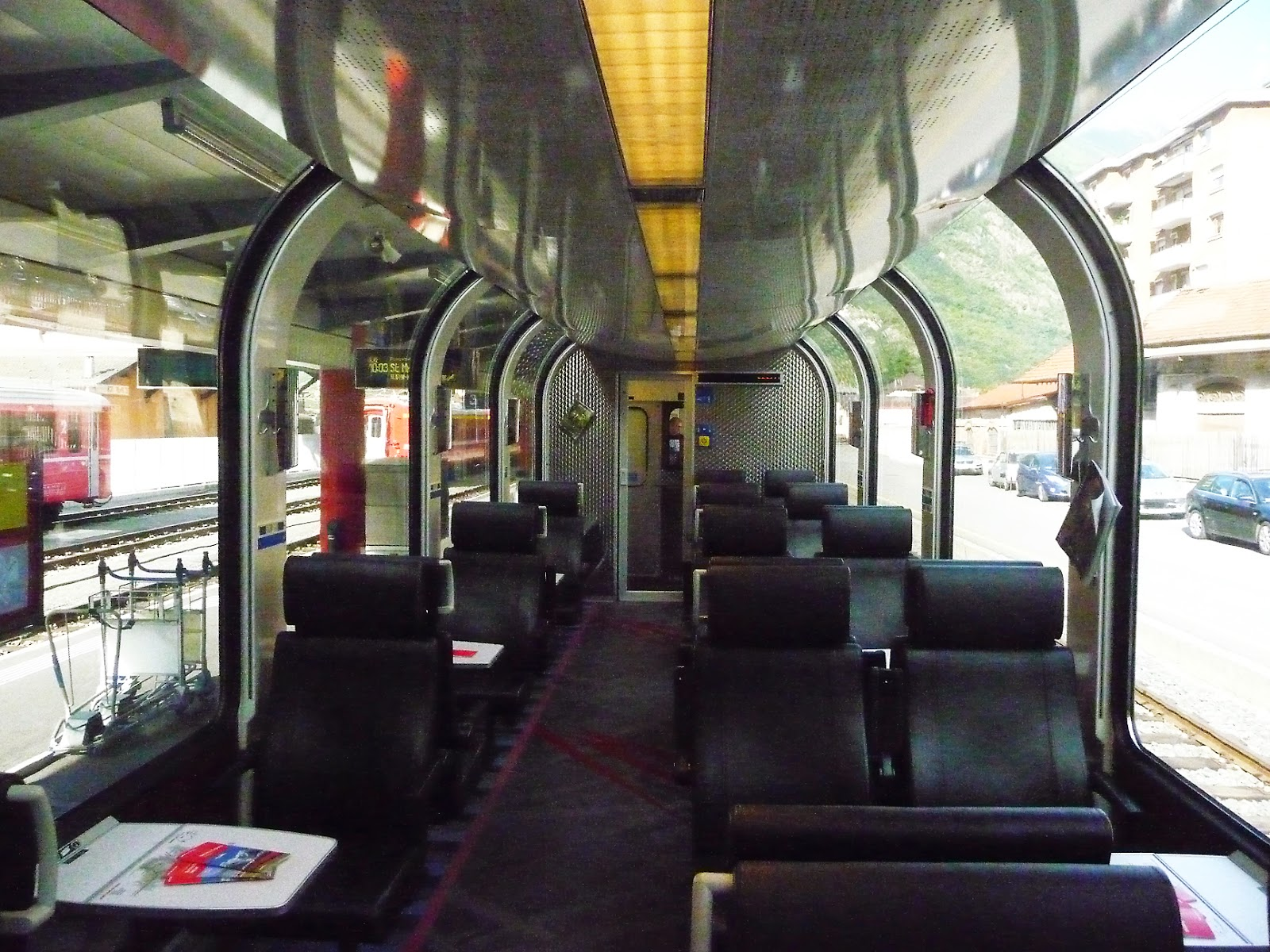 A Picture of a Panoramic Car on the Bernina Express Mountain Train Lake Como, Italy © 2014 For The Love Of Italy