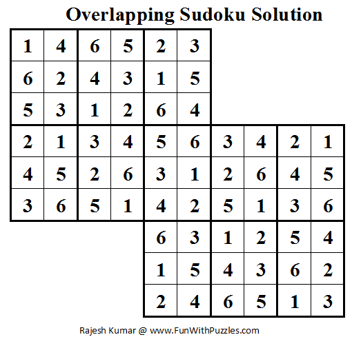 Overlapping Sudoku (Mini Sudoku Series #15) Solution