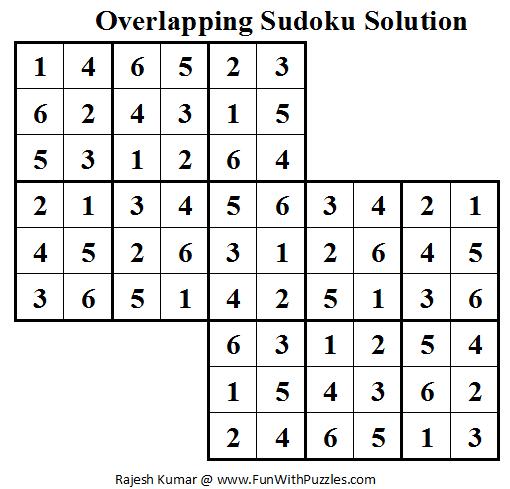 Overlapping Sudoku (Mini Sudoku Series #15) Solution