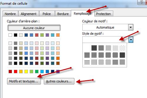 استعمال الأداة Remplissage في النافذة Format de cellule