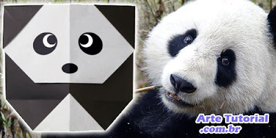Urso panda de papel com oragami