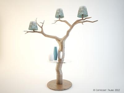 Lampara de mesa con forma de árbol