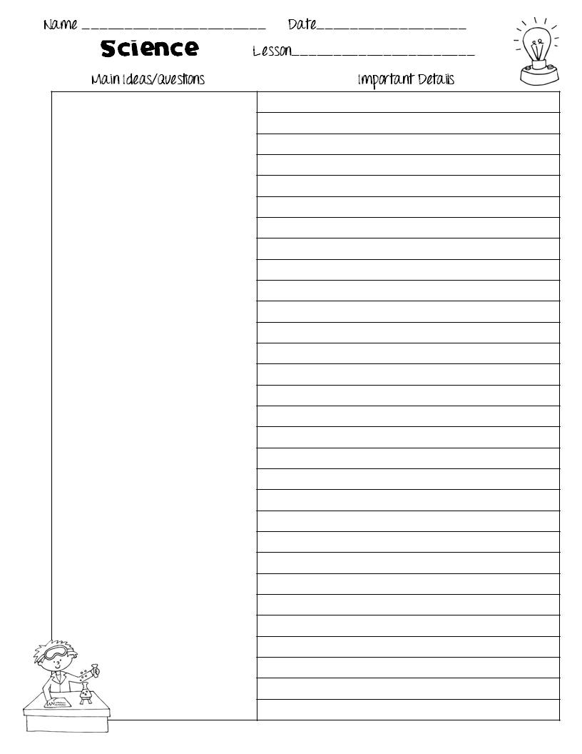 The Idea Backpack Cornell Notes Templates for Science Freebie – Cornell Notes Paper