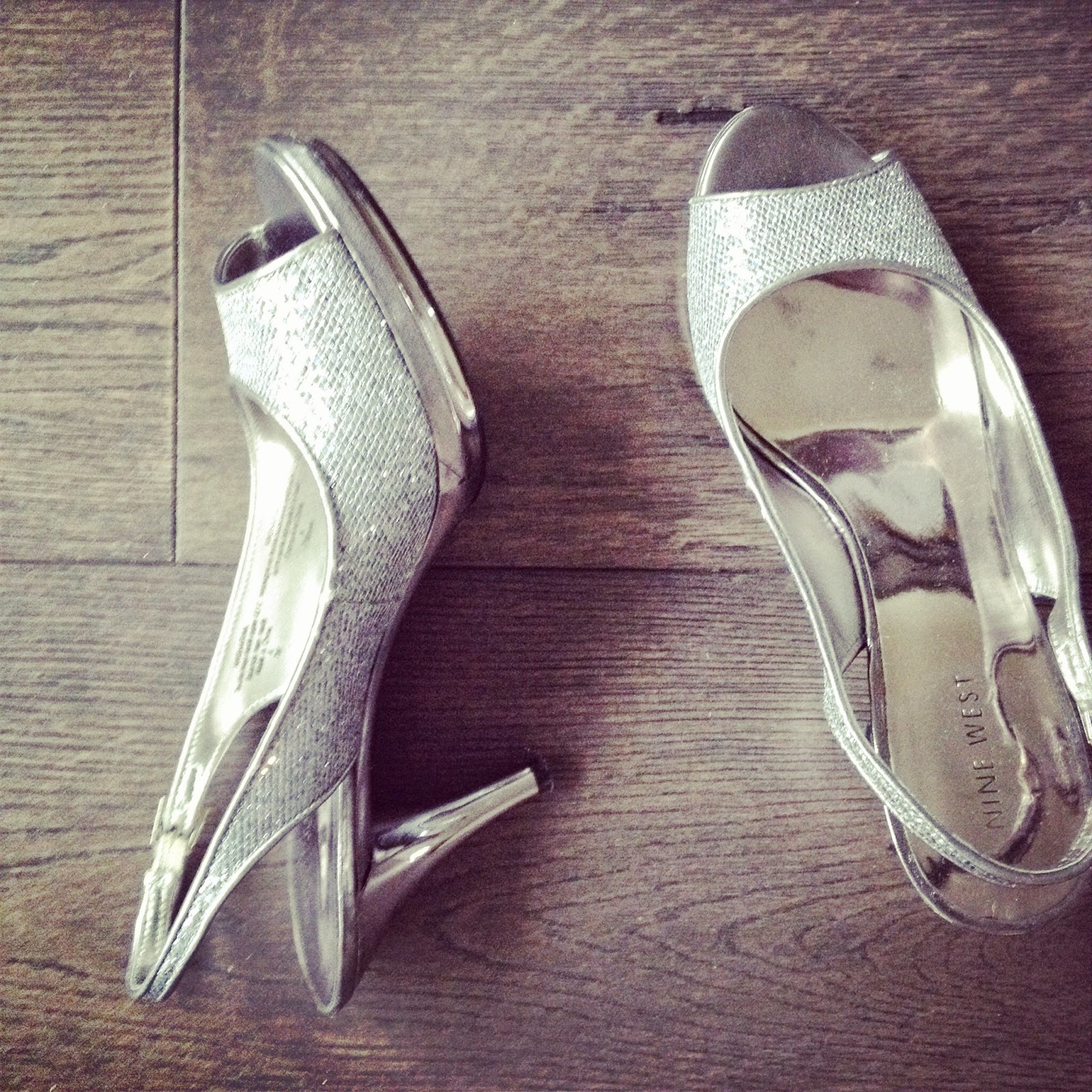 nine west silver heels www.footnotesandfinds.com