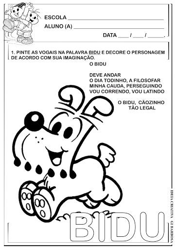 Atividade Vogais Bidu Turma da Mônica