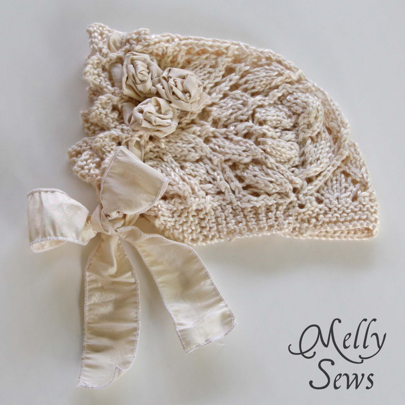 Knitting Needles Case Pattern : Lace Knit Baby Bonnet - Free pattern - Melly Sews