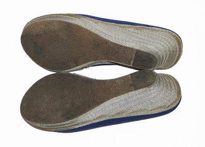 pantofi cu platforma din material textil de culoare albastra, masura 38