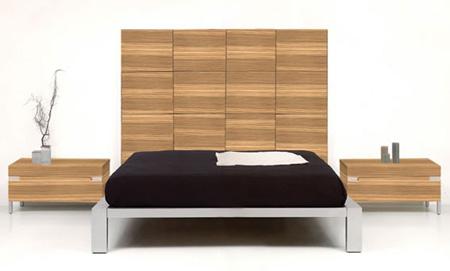 Dormitorio elegante de metal y madera