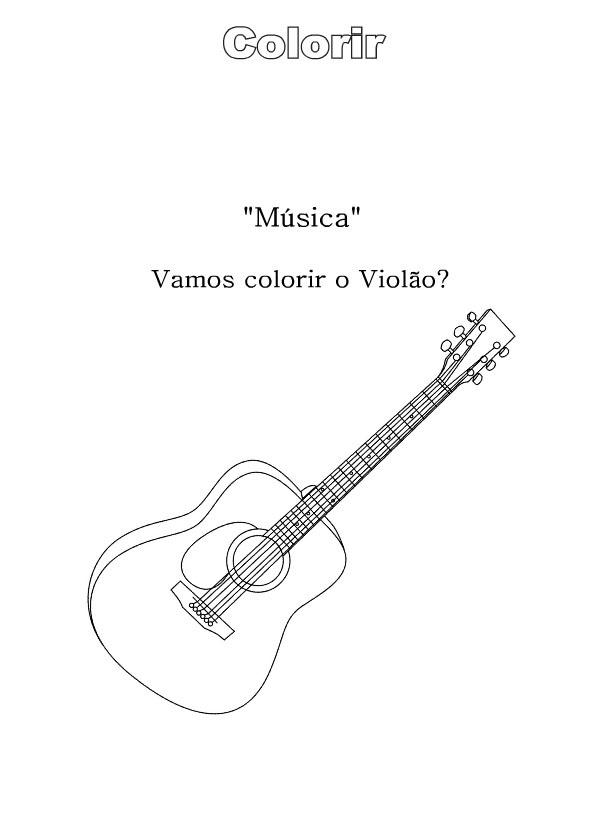 Desenhos Preto e Branco Violão Guitarra Piano Saxofone e ClarineteColorir