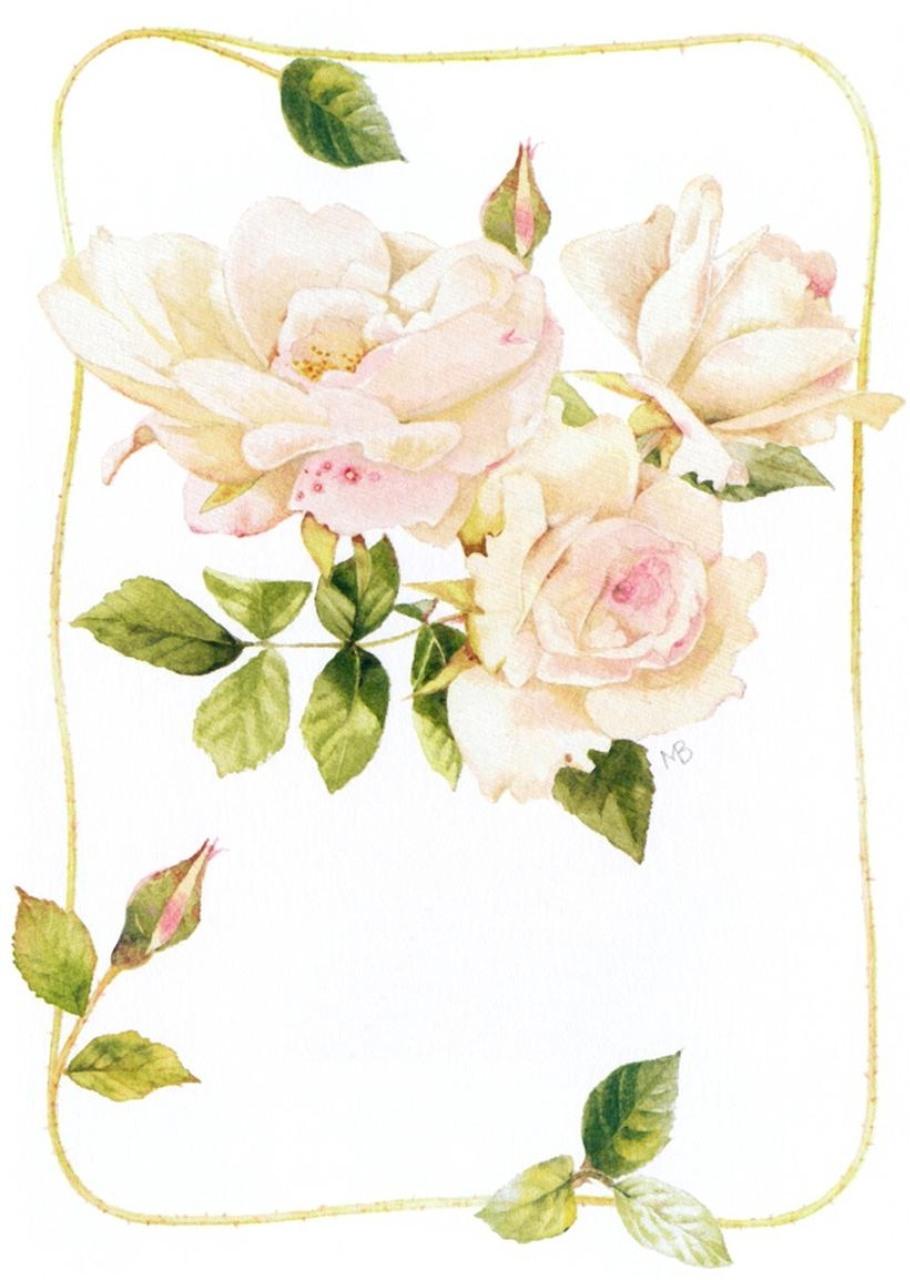 Рисованные цветы для открытки с