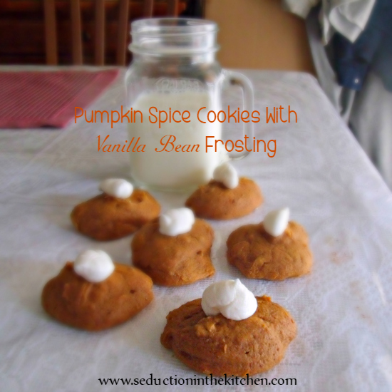 Pumpkin Spice Cookies with Vanilla Bean Frosting is the perfect #pumpkin recipe for the #autumn pumpkin season. A #recipe from Seduction in the Kitchen.