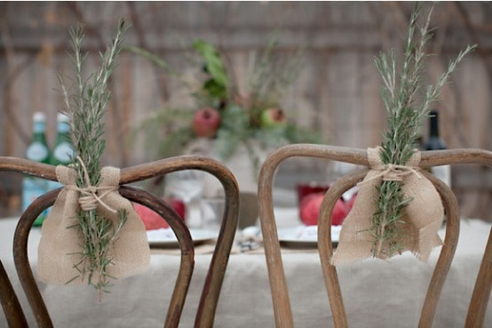 Rosemary Sprigs and Burlap Chair Cover by Indulgy