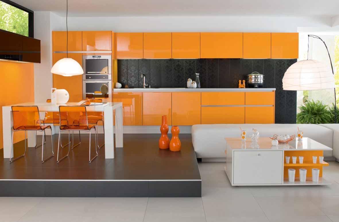 Desain Keren Dapur Warna Orange