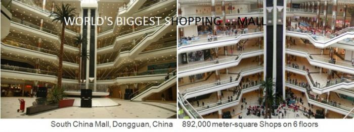 China has the world's biggest shopping mall. South China Mall in Dongguan has 892000 meter-square and 6 floors, world records, biggest shopping mall