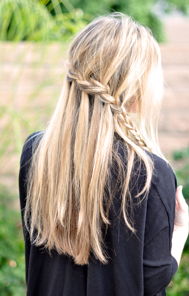 Summer hair waterfall braid