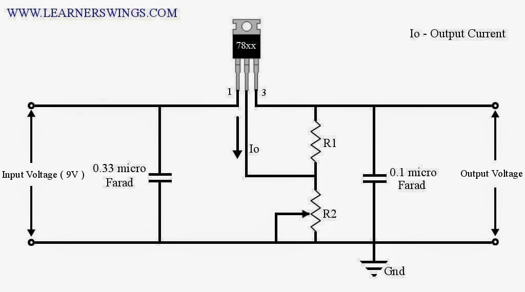 adjustable output voltage regulator using 7805 funny electronics rh learnerswings com 7805 regulator circuit diagram 7805 circuit diagram datasheet