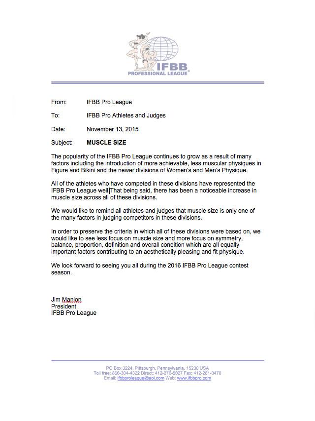 Comunicado de Jim Manion, presidente da IFBB Pro - Foto: Reprodução