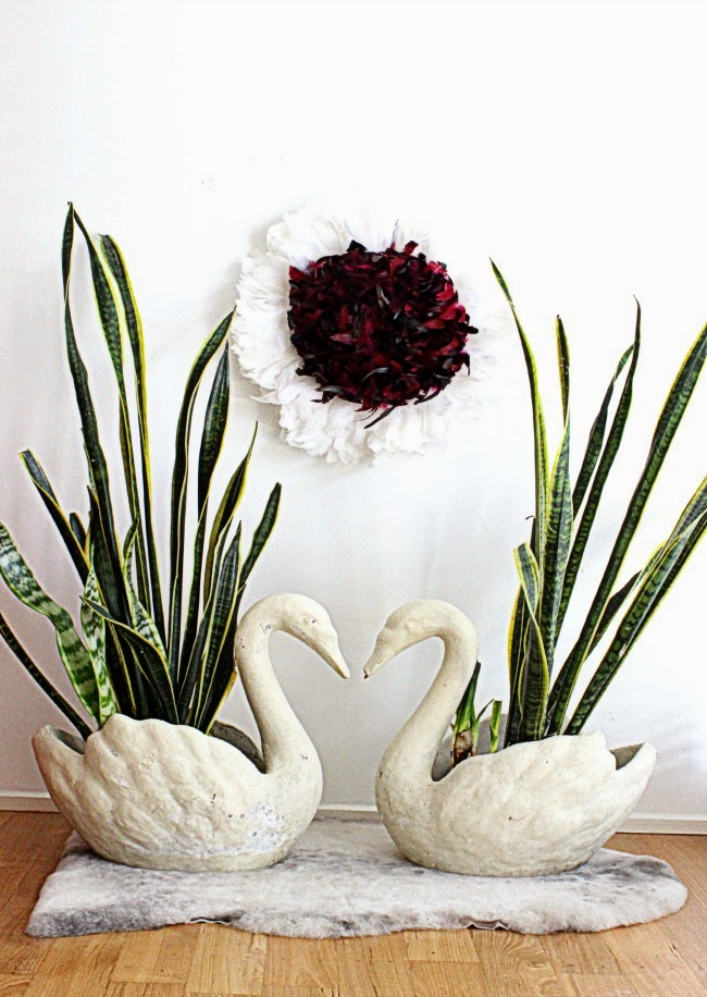 Hunted and made vintage thrifting goodness concrete swan pots - Concrete swan planter ...